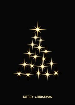 黒の背景に金色の星で作られた抽象的な様式化されたクリスマスツリー金のクリスマスの装飾