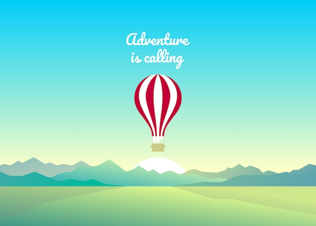 Abstract summer background. balloon in a cloudless sky. flight at sunrise. aeronautics in the mountains. balloon festival. mountain landscape.