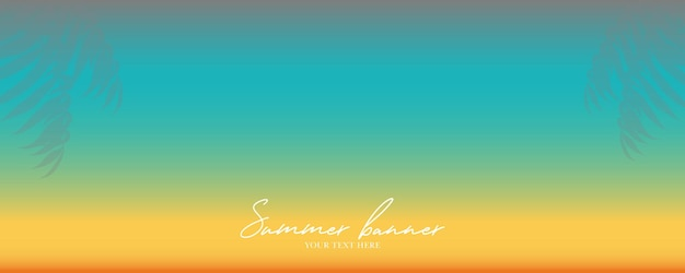 Abstract summer banner with palm leaves and gradient color