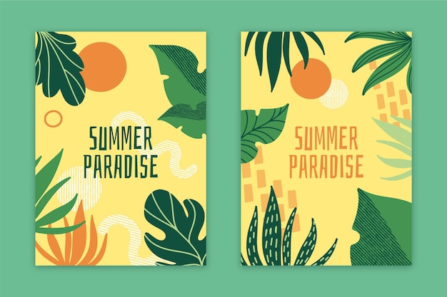 Abstract summer paradise cards collection