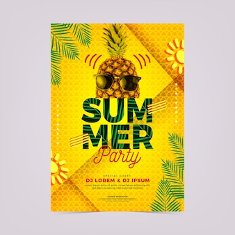 Abstract summer party poster template with photo