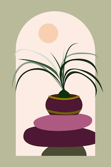 디자인 인테리어 포스터 벽 장식 가족 행사 초대 등을 위한 추상 여름 식물 배경