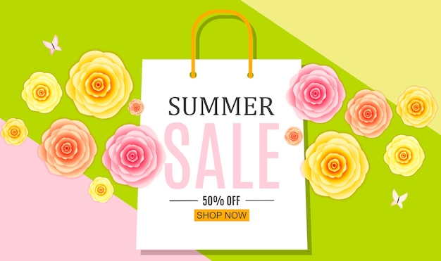 Abstract summer sale background with shopping bag.
