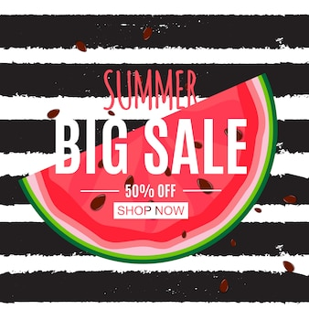 Abstract summer sale background with watermelon.  illustration
