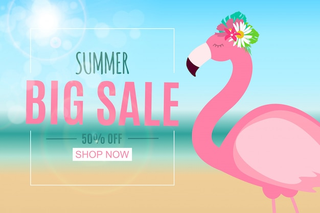 Abstract summer sale banner with flamingo. vector illustration