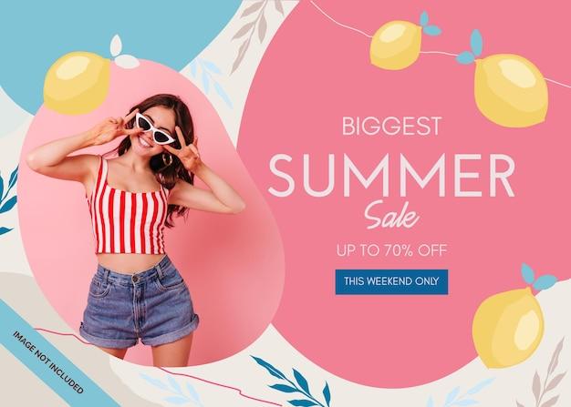 Абстрактный летняя распродажа баннер с цветочной иллюстрацией с фото