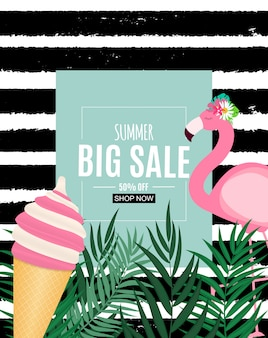 Abstract summer sale banner with palm leaves and flamingo. vector illustration