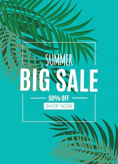 Abstract summer sale banner with palm leaves. vector illustration