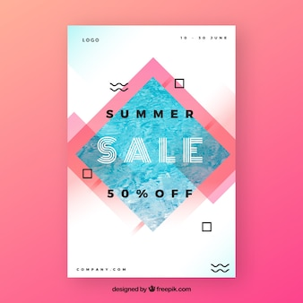 Abstract summer sale flyer template with image