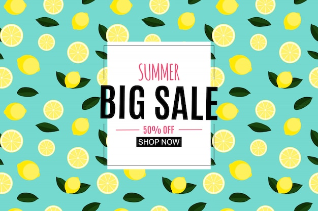 Abstract summer sale with lemon.