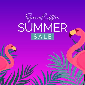 Abstract summer sale with palm leaves and flamingo