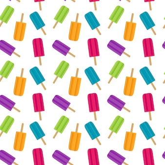 Abstract summer seamless pattern with ice cream. vector illustration