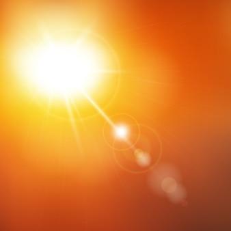 抽象的な夏の日光のイラスト。多重ライトと日当たりの良い黄色の背景の空。特殊な太陽レンズフレアライト効果。