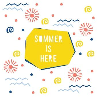 抽象的な夏の時間パターンの背景。デザインカード、招待状、夏のパーティーのポスター、ワークショップの広告、tシャツ、ベビーメニュー、バッグプリントなどの幼稚なシンプルなアプリケーション。
