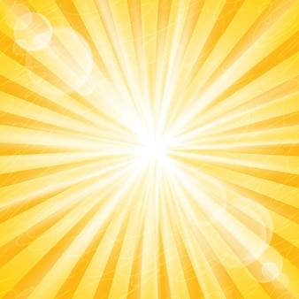 抽象的な太陽の背景。発散光線とグレアとモード
