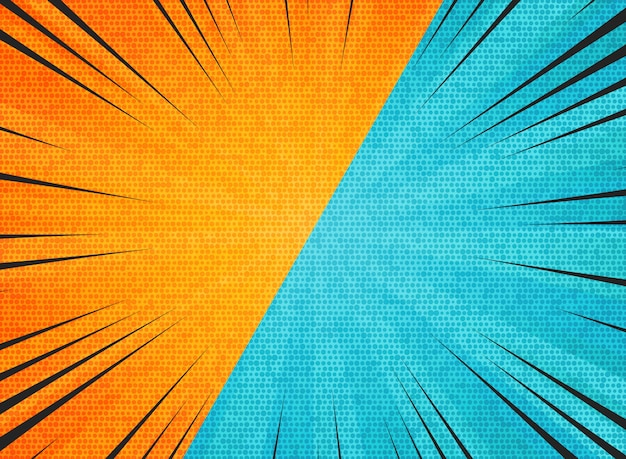 Abstract sun burst contrast orange blue colors background