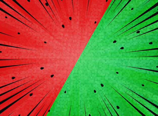 Abstract sun burst  contrast watermelon red and green colors background.