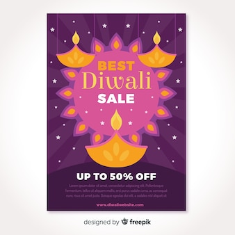 Abstract sun and candles diwali sale flyer