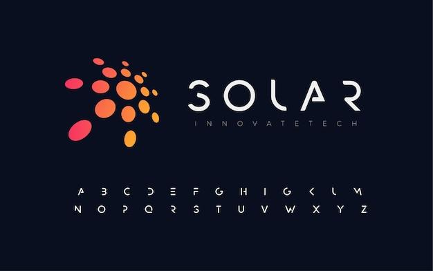 抽象的な太陽フラットスタイルのベクトルのロゴの概念黒の背景のラウンドに素晴らしいオレンジ色の孤立したアイコン