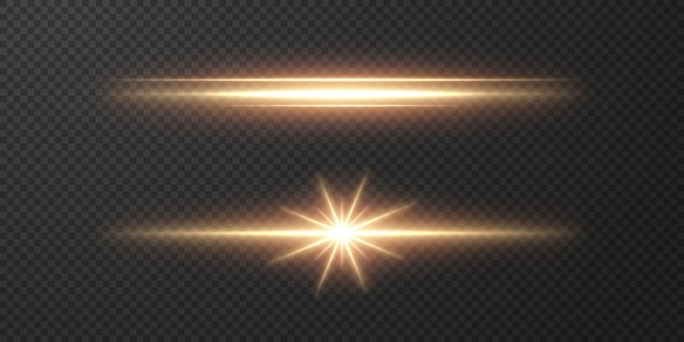抽象的な太陽光線。透明な背景に明るい光のストリップ。