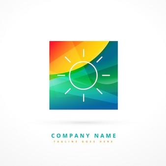 Abstract sun logo in colorful style