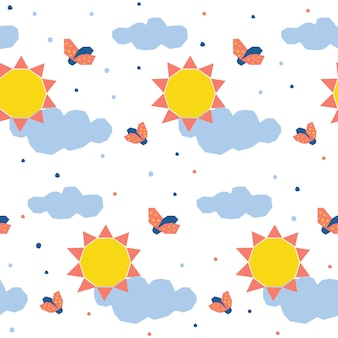 Abstract sun seamless pattern background. childish simple application sun and ladybug cover for design card, invitation, nappy, workshop advertising, t shirt, baby menu, bag print etc.