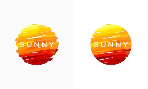 抽象的な晴れた日のロゴデザインシンボル、抽象的な太陽ベクトルロゴテンプレート