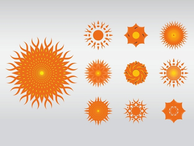Abstract suns nature floral icons