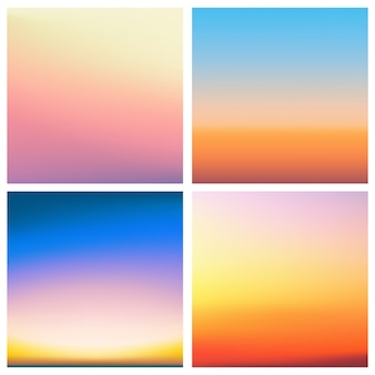 Abstract  sunset blurred background set. square blurred background - sky clouds colors with love quotes.