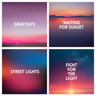 Abstract sunset blurred background set