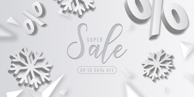 Abstract super christmas sale with 3d elements