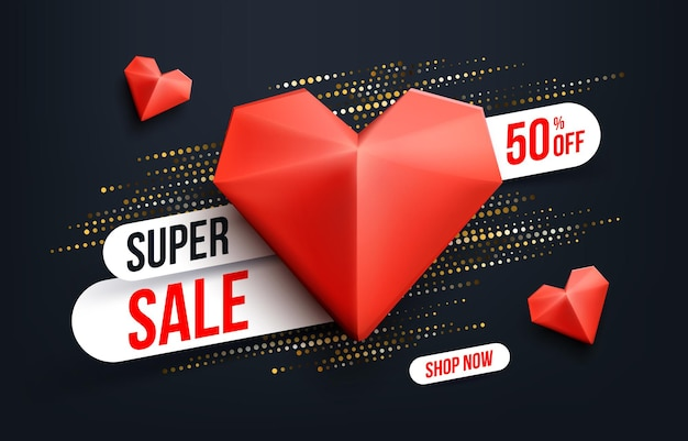 Abstract super sale banner with gold halftone glitter effect for special offers