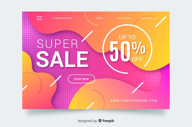 Abstract super sale landing page template