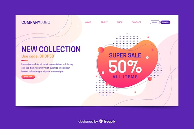 Abstract super sale landing page