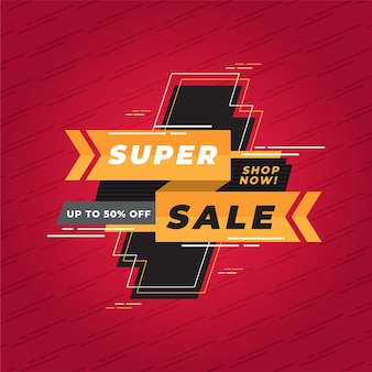 Abstract super sale promotion banner