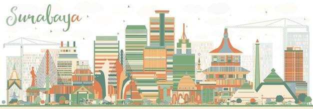 色の建物と抽象的なスラバヤのスカイライン。ベクトルイラスト。近代建築とビジネス旅行と観光の概念。プレゼンテーションバナープラカードとwebサイトの画像。