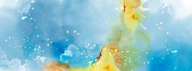 스플래시 수채화의 추상 표면 블루