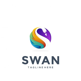 Abstract swan logo template