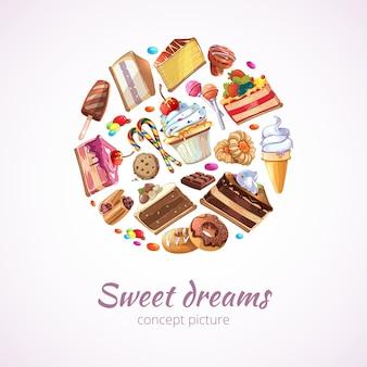 抽象的なお菓子の背景