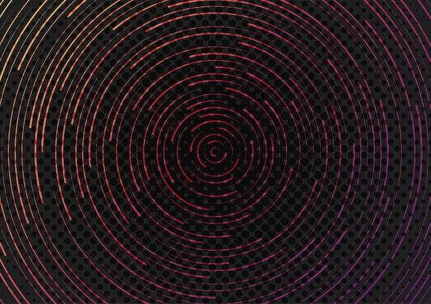 미래 패턴 장식 시스템 아트웍 템플릿의 추상 소용돌이 라인. 배경 중앙에 하프톤을 사용하여 디자인합니다. 일러스트 벡터