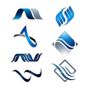Abstract swoosh set 3d symbols logo design