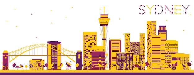 Абстрактный горизонт сиднея с цветными зданиями. векторные иллюстрации. деловые поездки и концепция туризма с современной архитектурой. изображение для презентационного баннера и веб-сайта