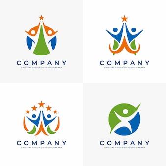 幸せな人間のシルエットと抽象的なシンボルスポーツフィットネス医療またはヘルスケアセンターのロゴ