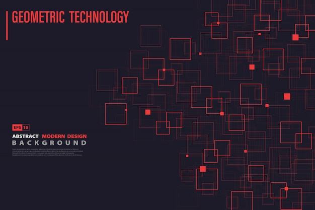 Abstract systematic red square of technology design background.