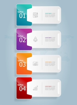 Abstract tab bar vertical infographics presentation element template with business icon 4 option vector illustration background