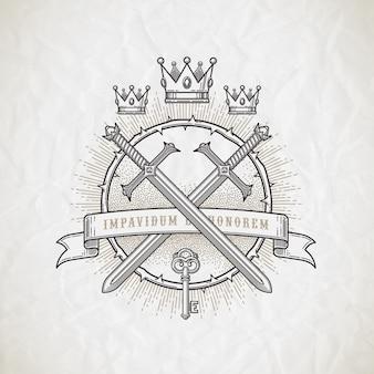紋章と騎士の要素-イラストと抽象的なタトゥースタイルラインアートエンブレム