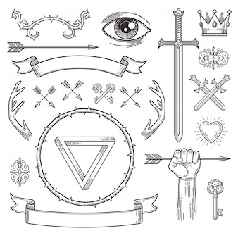 Abstract tattoo style line art heraldic elements.