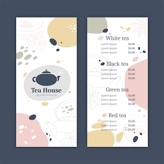 Abstract tea house menu template