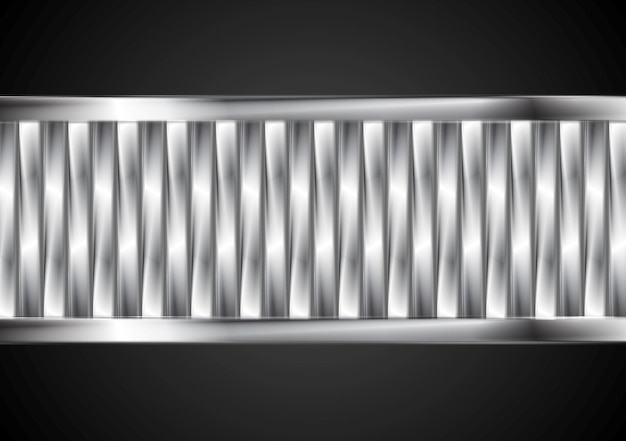 Abstract tech banner from metallic stripes. vector background
