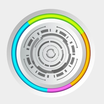 Abstract tech circle background concept with interface and colorful edging